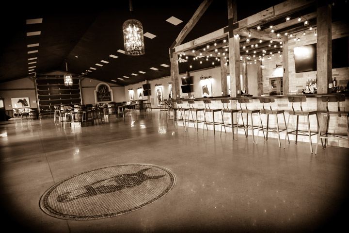 Paddock Club bar sepia tone