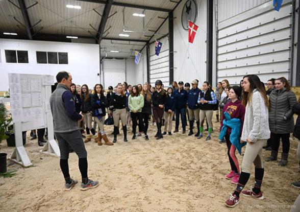 ocala equestrian cadets horsemanship program instructor speaking to students