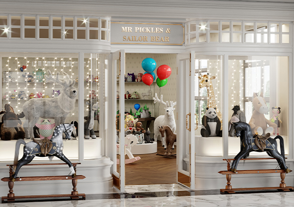 ocala equestrian shopping store front with horse and balloons