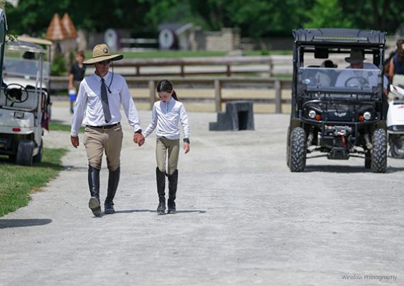 wilmington-equestrian-members-and-exhibitors child and adult walking up road